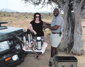Coffee in the bush with our ranger Ernie Maetla.
