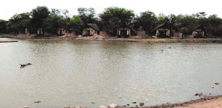 Tau Game lodge chalets as seen from across the waterhole.